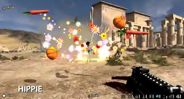 Those vegetables are the gibs from the exploding enemy. Flowers represent blood.