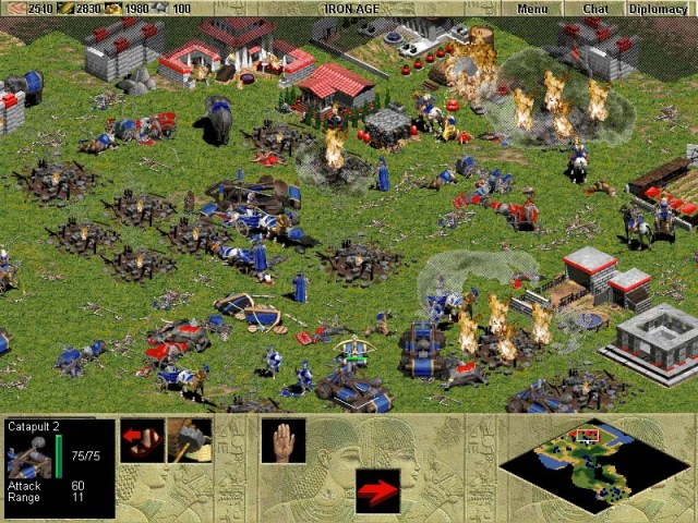 Age of Empires. It's a genocide simulator since you have to destroy all enemy units including filthy peasants. Source: ageofempires.co.nz